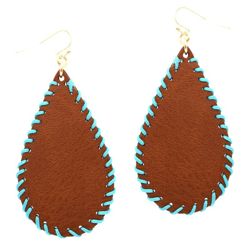 2f015c67b Whip-stitched Handmade Teardrop Leather Earring > Earrings > Mezon ...