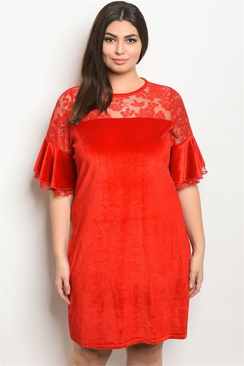 Plus Size Red Velvet Shift Dress - Pack of 6 Pieces