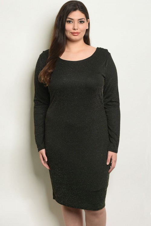 Plus Size Long Sleeve Scoop Neck Bodycon Dress - Pack of 6 Pieces