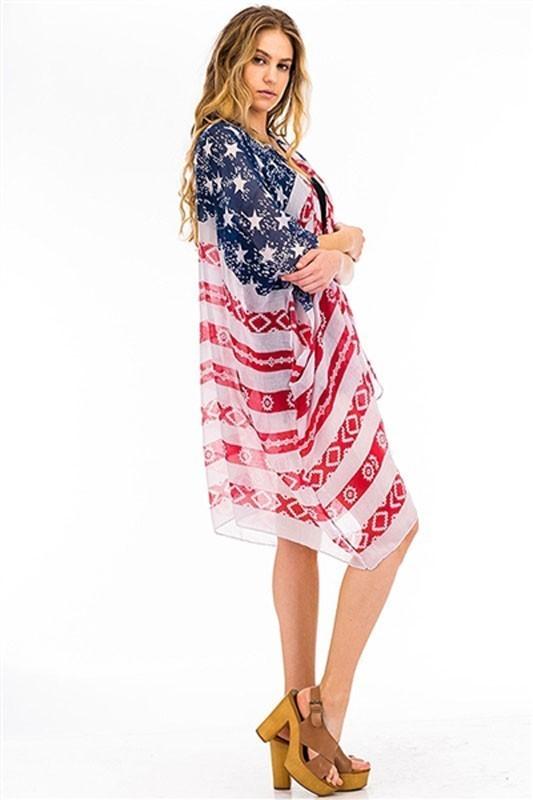 ... PACK OF ( 6 PCS ) AMERICAN FLAG PRINT KIMONO FM FTZKSF156 ...