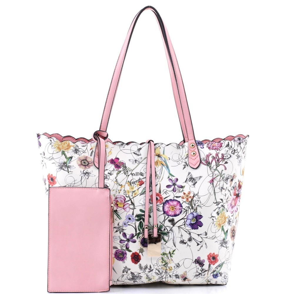 3 in 1 Flower Butterfly Print Scalloped Edge Tote Value