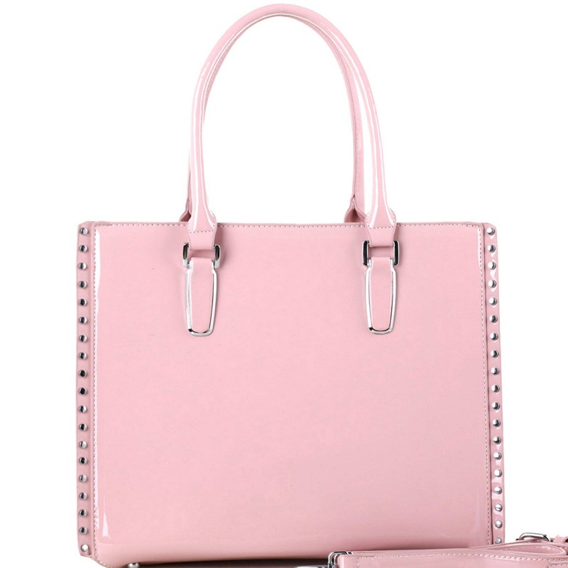Stud Accent Patent Classy 2-Way Tote MH-QS3305 > Boutique