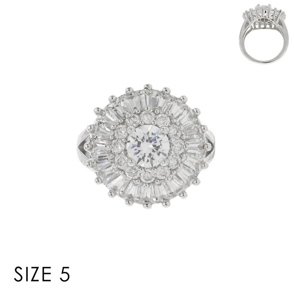 ELEGANT ROUND TOP CZ RING SLR1694 > Wedding Jewelry