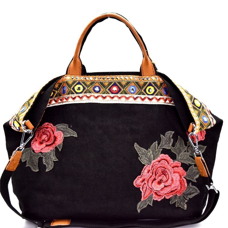63c36b928ba CJF024-LP Flower and Ethnic Embroidery Folded Corner Linen Tote
