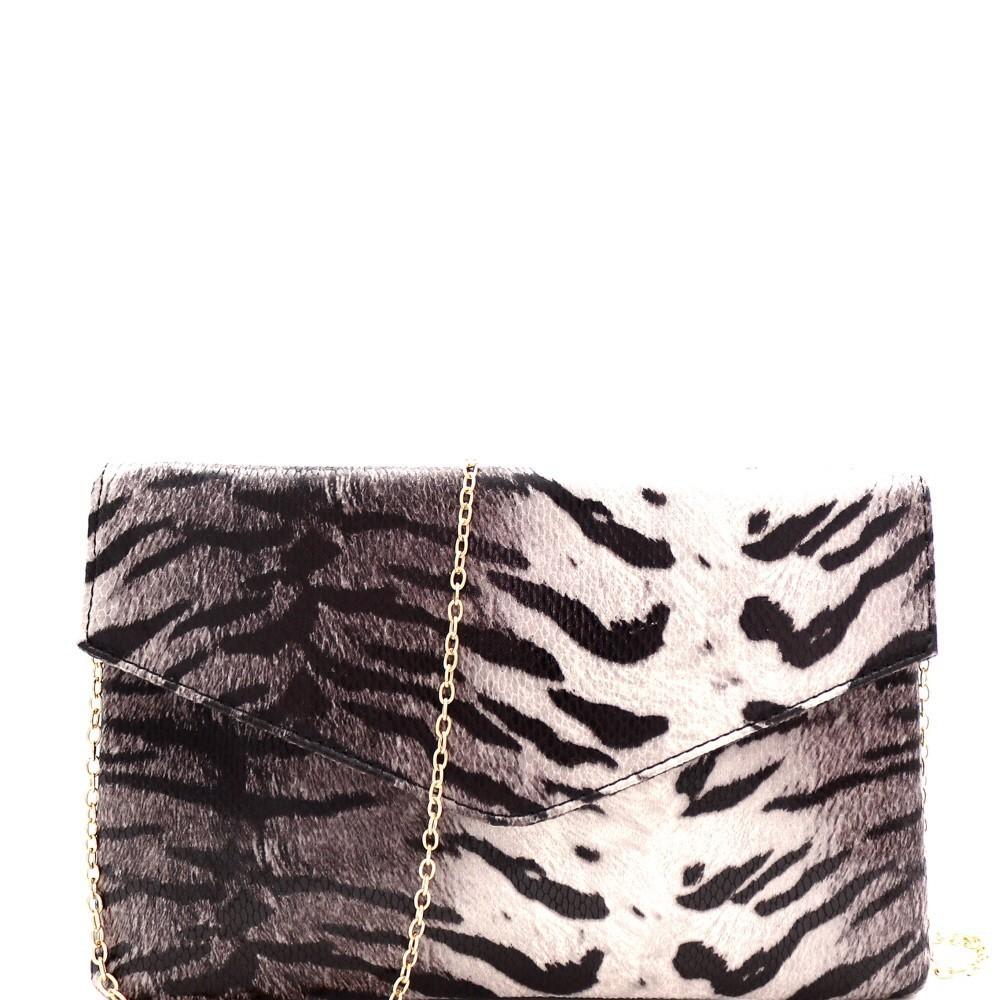 Tiger Print Envelope Clutch