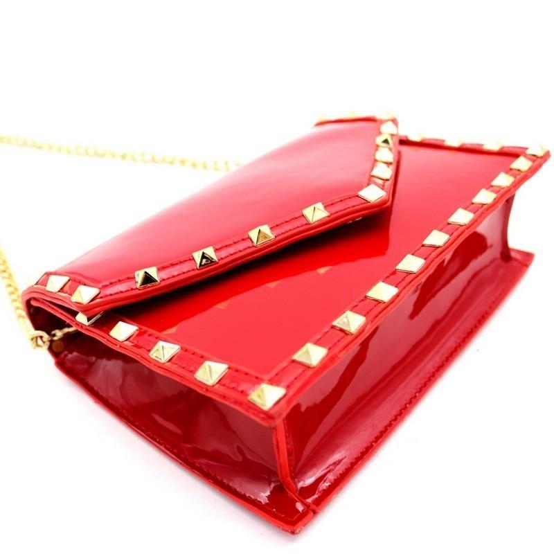 Flap Pyramid Stud Accent Patent Shoulder Bag MH-PPC7050