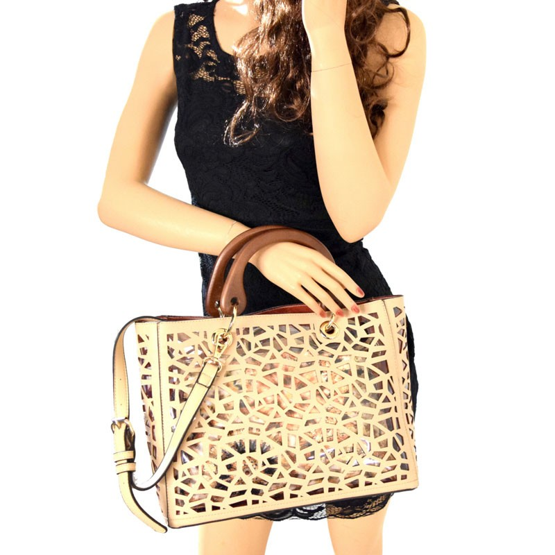 S02722 Lp Laser Cut 2 In 1 Clear Bag With Wooden Handle