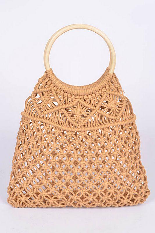 Round Handle Cotton Crochet Summer Bag LA-PPC6724 ...
