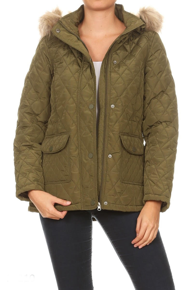 Waterproof Solid Fitted Puffer Jacket By Nina Rossi MH
