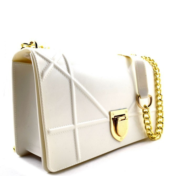 Clasp Lock Accent Jelly Shoulder Bag