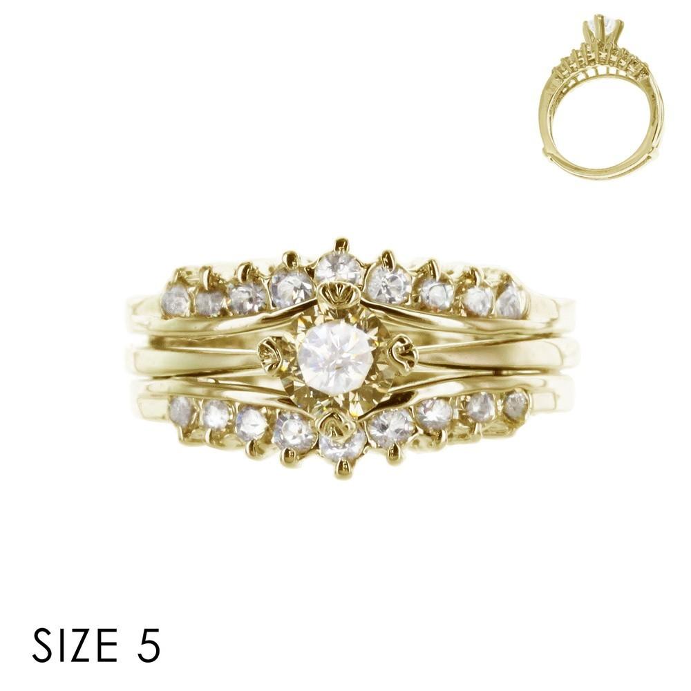 CUBIC ZIRCONIA RING SLR0051GL > Rings > Mezon Handbags