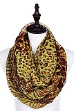 Pack of (12 Pieces) Assorted Color Animal Print Infinity Scarves FM-ISF256