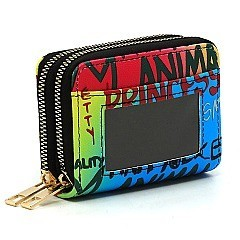 Trendy Double Zip Multi Graffiti Print Accordion Card Holder Wallet