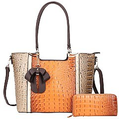 2 IN 1 RIBBON ACCENT ALLIGATOR SATCHEL WALLET SET