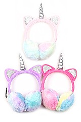 Pack of (12 pieces) Unicorn Theme Trendy Earmuffs FM-A55