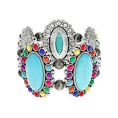 Trendy Western Turquoise Squash Blossom Stretch Bracelet