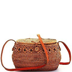 CUTE NATURAL STRAW WOVEN BUCKET CROSSBODY BAG