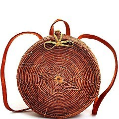 TRENDY NATURAL FIBER WOVEN ROUND BACKPACK