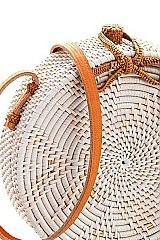 TRENDY NATURAL WOVEN ROUND CROSSBODY BAG