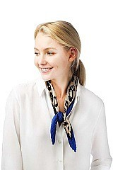 Animal Print Satin Pleated Scarf