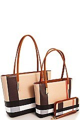 CH-BT2669 SMOOTH TEXTURED MODERN CHECK 3 in 1 FASHION TOTE SET