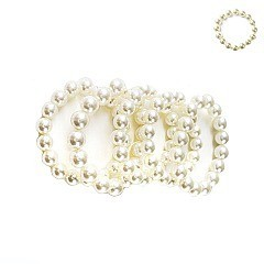 4-LINE SOLIDARITY PEARLS STRETCH BRACELET
