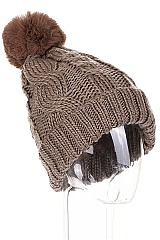 PACK OF 12 CLASSIC FUR LINED POMPOM CROCHET BEANIES