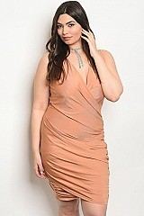 Plus Size Sleeveless Bodycon Mini Dress - Pack of 6 Pieces