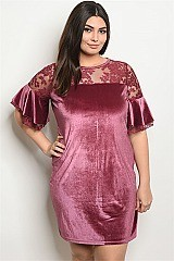 Plus Size Mauve Velvet Shift Dress (Pack of 6 Pieces)