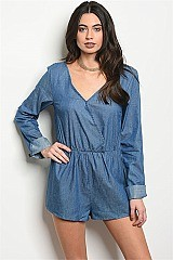 Long Sleeve Laced Back Chambray Romper - Pack of 6 Pieces