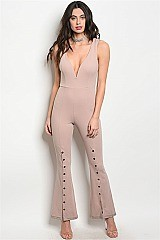 Sleeveless V-neck Leg Detailed Fitted Jumpsuit - Pack of 6 Pieces