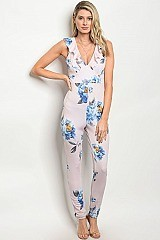 Sleeveless Plunging Neckline Floral Print Jumpsuit - Pack of 6 Pieces