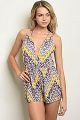 Sleeveless Plunging Neckline Tribal Print Romper - Pack of 6 Pieces