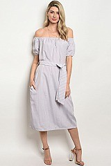 Drop Sleeve Off the Shoulder Stripes Belted Midi Dress - Pack of 6 Pieces