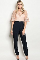 Mid Sleeves Ruffle Lace Top Jumpsuit - Pack of 6 Pieces