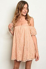 Lace peach Off The Shoulder Dress - Pack of 6 Pieces