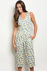 Sleeveless V-neck Capri Floral Jumpsuit - Pack of 6 Pieces