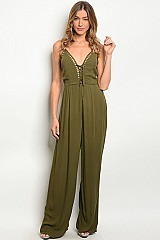 Sleeveless Laced Top Wide Leg Jumpsuit - Pack of 8 Pieces