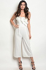 Sleeveless Tube Top Ruffled Cropped Jumpsuit - Pack of 6 Pieces