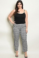 Plus Size Ruffled Detail Gingham Trousers - Pack of 6 Pieces