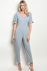 V-neck Fitted Waist Button Top Jumpsuit - Pack of 6 Pieces