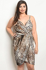 Plus Size Sleeveless V-neck Draped Leopard Print Dress - Pack of 6 Pieces