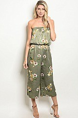 Sleeveless Tube Top Floral Print Satin Jumpsuit - Pack of 6 Pieces