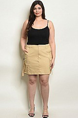 Plus Size Fitted Waist Cargo Mini Skirt - Pack of 6 Pieces