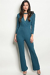 Long Sleeve Choker Neck Plunging Neckline Ribbed Jumpsuit - Pack of 6 Pieces