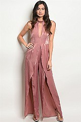 Sleeveless Keyhole Neckline Slit Jumpsuit - Pack of 6 Pieces