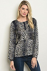 Long Sleeve Scoop Neck Leopard Print Blouse - Pack of 6 Pieces