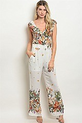 Sleeveless V-neck Floral Print Jumpsuit - Pack of 6 Pieces
