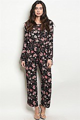 Long Sleeve Floral Wide Leg Jumpsuit - Pack of 6 Pieces
