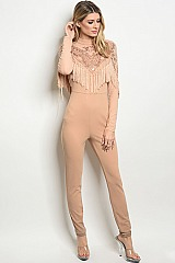 Long Sleeve Mock Neck Mesh Sequins and Fringe Jumpsuit - Pack of 6 Pieces
